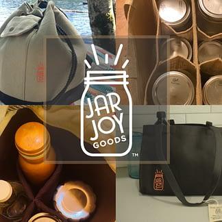 eco friendly, sustainable, jar, mason jar, jar tote, jar bag, kitchen organization, homestead, garden, organic, bag
